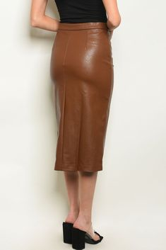 Brown Skirt – Pop A Button Womens Fashion Stores, Brown Skirts, Skirts For Sale, Boss Lady, Leather Skirt, Midi Skirt, Buttons, Fitness, How To Wear