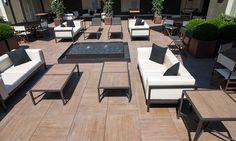 Exterior Tiles, Outdoor Furniture Sets, Outdoor Decor, Terrace, Porcelain Tiles, Patio, Pedestal, Wood, Table