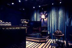 BONBON BAR BERLIN Design by NOVONO. DJ counter, striped flooring, curtain club.