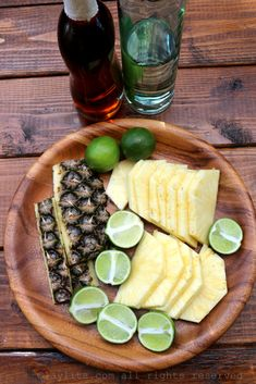 Ingredients for pineapple lime caipirinhas