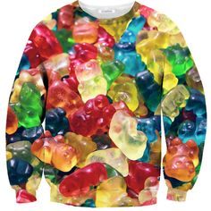 Gummy Bear Sweater ($60) ❤ liked on Polyvore featuring tops, sweaters, shirts, sweatshirts, bear shirt, shirts & tops, pattern tops, print shirts and print top