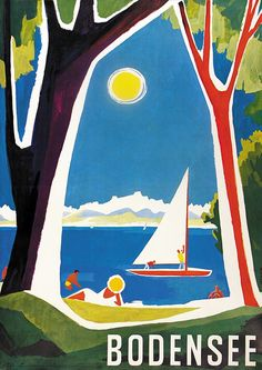 Vintage Travel Poster - Bodensee - Germany - by Dietrich - 1958.