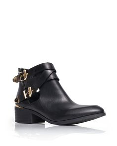 6f4b3f6c327d Black ankle boots with gold buckles