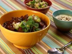 Beef and Black Bean Chili with Toasted Cumin Crema and Avocado Relish: Throwdown With Bobby Flay. (See also Cin Chili, no picture to link: http://www.foodnetwork.com/recipes/cin-chili-recipe/index.html)
