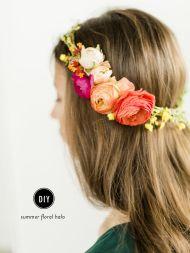 DIY Summer Floral Halo - Style Me Pretty Living Homemade Facial Mask, Homemade Facials, Diy Flower Crown, Diy Flowers, Flower Crowns, Flower Headbands, Flower Ideas, Flower Girls, Contour Makeup