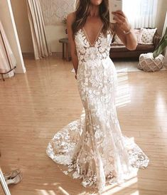 Did you ladies know our Stevie dress now comes in BONE? V Neck Backless Lace Mermaid Cheap Wedding Dresses Online, Cheap Bridal Dresses Open Back Prom Dresses, Open Back Wedding Dress, V Neck Wedding Dress, Long Prom Gowns, Boho Wedding Dress, Dream Wedding Dresses, Sheath Wedding Dresses, Lace Wedding Gowns, Wedding Dress Stores