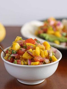 Mango pico de gallo - perfect on top of fish tacos! Also, great for dipping chips, inside a steak burrito or on top of a burger. Easy Healthy Dinners, Healthy Dinner Recipes, Mexican Food Recipes, Snack Recipes, Cooking Recipes, Mexican Cooking, Mexican Dishes, Clean Eating Recipes, Healthy Eating