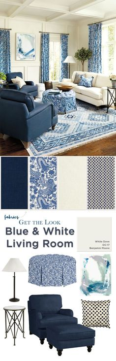 Get the look of this blue and white living room from Ballard Designs decor blue living room Create a Blue & White Living Room Coastal Living Rooms, Home Living Room, Living Room Designs, Living Room Decor, Living Area, Blue Rooms, White Rooms, Home Design, Interior Design