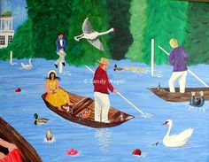 Naive Art.  Henley Regatta Fun. Acrylics on box canvas. Artbysandywager.com  Copyright  ©2012