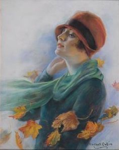 'Magazine cover: Woman in cloche hat, autumn leaves' by William Haskell Coffin