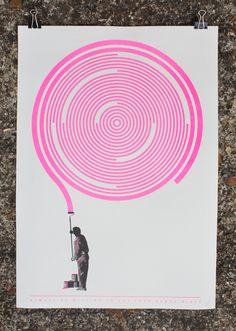 Analog vs Digital - John C Thurbin Cool use of 2 colours in a screen print.