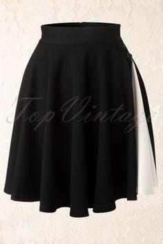 Vixen 50s Vintage Black Rose Swing Skirt in Black and White