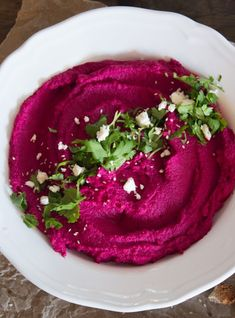 Beet Hummus with Cilantro and Feta http://cookingstoned.tv/recipe/beet-hummus-cilantro-feta/?utm_content=buffer0fbdb&utm_medium=social&utm_source=facebook.com&utm_campaign=buffer