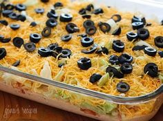 "A must have at every large get together: birthdays, football, holidays – this dip always disappears!  This is my daughter Karina's favorite dip, which she has nicknamed ""the stuff"". It's easy to prepare and everyone always wants the recipe when they try it. Serve it at your next party with your favorite baked tortilla chips and play around with the toppings – try jalapeños, scallions or avocados.   Skinny Taco Dip Servings: 24 • Serving Size: 1/24th of dip • Points +: 2..."