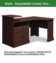 Bush - Expandable Corner Desk Solution (B/F/D) Box of 2 Syndicate, Mocha Cherry 6399MCA2-03 (DMi EA. Durable melamine surfaces are dent- and scratch-resistant. Box/file pedestal with open storage area and enclosed CPU compartment. Drawers operate on full-extension ball bearing slides; file drawer accommodates letter and legal size files. Elevated printer shelf. Integrated 4-port USB hub and charging station for portable devices. Color: Mocha Cherry; Pedestal Count: 1; Top Shape: Corner…