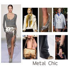 METAL CHIC:  Los  dorados y plateados  antes reservados para la noche, vendrán en todo tipo de prendas y complementos.  Combínalos con negro y no tendrás pierde. Es tiempo de brillar!  #Silver #Gold #Fashion