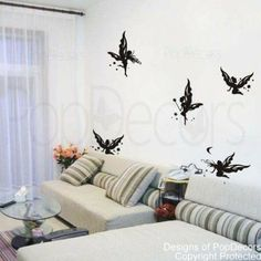 Amazon.com - Popdecors Wall Decals & Stickers - Butterfly Fairies - Free Squeegee and color change - custom wall art nursery wall decor stic...