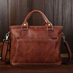 (66.30$)  Buy here  - Men's bags leather shoulder bags leisure portable oil wax postman dispatch baotou layer leather laptop bag
