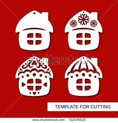 Set of christmas Decoration. Silhouettes of huts (small houses). Template for laser cutting, wood carving, paper cut. Decor for xmas tree. Vector illustration.
