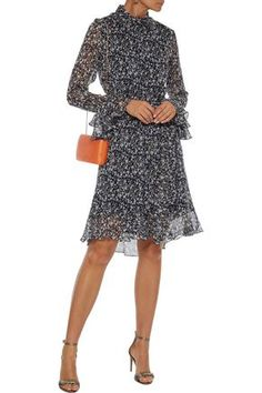 Shop on-sale Belted ruffle-trimmed floral-print georgette dress. Browse other discount designer Knee Length Dress & more luxury fashion pieces at THE OUTNET Belts For Women, Clothes For Women, Knee Length Dresses, Navy Dress, Fashion Outlet, Ruffle Trim, Jacket Dress, Dresses For Sale, Dress Outfits