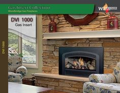 """Our Direct Vent Gas Insert DVI 1000 is designed to fit the larger wood burning fireplaces with minimum 32"""" (W) x 23"""" (H) x 17"""" (D) opening. Made of heavy steel it features ceramic glass, safety screen, hand made ceramic log set, amber material, Available both with electronic ignition and standing pilot system for Natural Gas or Propane. We ship all over North America! Designer's and Dealer's discounts available. Fireplace Showroom, Custom Fireplace, Biofuel Fireplace, Gas Insert, Gas Fireplaces, Fireplace Inserts, Fireplace Accessories, Wood Bridge, Electric Fireplace"""