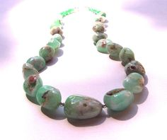 Gugma Chunky Chrysoprase  Sterling Silver Statement Necklace - $95.00