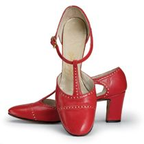 The little red T-strap (below right) was originally designed for the Empire look in the forties but was revised for the sixties. Julianelli