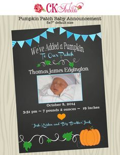 Our New Pumpkin Baby Announcement by ckfireboots on Etsy, $12.00