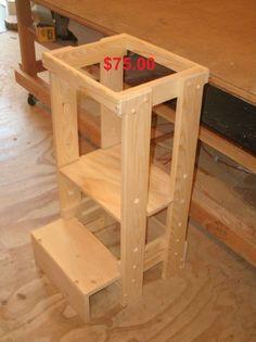 kitchen helper stool, adjustable tot tower, toddler stool, children step stool, little helper tower, kitchen helper by BeckyShelves on Etsy https://www.etsy.com/listing/538831269/kitchen-helper-stool-adjustable-tot
