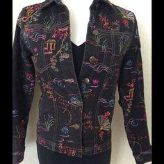 Embroidered Denim Black Jacket Oriental Theme