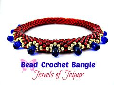 Tutorial Bead Crochet Bracelet Bangle. Jewels of Jaipur Instant Pattern Download with Invisible Join Instructions. For all levels.