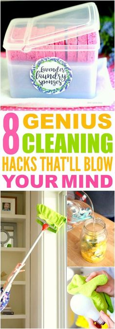 These 8 Genius Cleaning Hacks and Tips are THE BEST! I'm so happy I found these AMAZING ideas! Now my home will be super neat and clean with these tips and tricks! Definitely pinning!