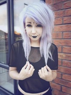 Super cute pastel goth girl with dimple piercings :) love it!