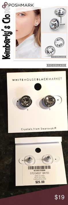 SWAROVSKI WHBM Stud Earrings Give yourself the gift of everyday elegance with these simply stunning stud earrings with crystal sparkle and smooth settings. Silvertone. Swarovski glass stones. Custom designed exclusively for WHBM. Handcrafted with nickel-free and lead-free metal.  Only worn one time - excellent condition. White House Black Market Jewelry Earrings