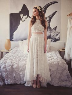 wedding dress alternatives for the hip bride: Crop top and a lace skirt