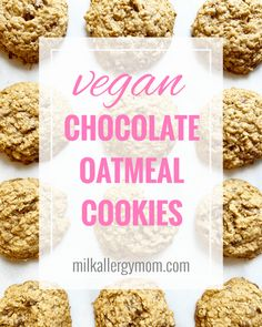 Must-make dairy-free, egg-free, nut-free, vegan chocolate chip oatmeal cookies that your kids will love! And they are so good with a cuppa, too. Recipe and video tips at Milk Allergy Mom! Dairy Free Baking, Dairy Free Eggs, Vegan Baking, Dairy Free Chocolate, Vegan Chocolate, Egg Free Recipes, Kid Recipes, Oat Chocolate Chip Cookies, Dairy Free Cookies