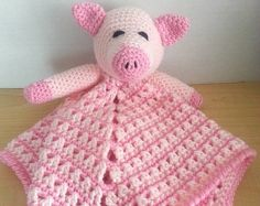 Crochet Snuggle Pig Lovey Security Travel Piggy Wubby Baby Blanet Afghan