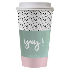 Cheeky 16 oz. Paper To-Go Cup Kit - designlovefest for Cheeky, Pink and Black Polka Dot Yay