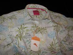 b4c81bf7777 Tommy Bahama Paradise Vineyard Coconut Linen LS New Shirt Large L T310517   fashion  clothing