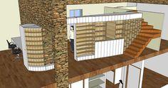 Réalisation d'un meuble avec SketchUp pour aménager l'étage d'une maison (projet n°1) Stage, Divider, Architecture, Room, Furniture, Home Decor, Atelier, Home, Arquitetura