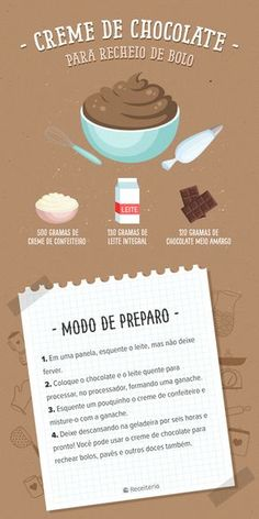 Recheio de chocolate My Recipes, Sweet Recipes, Dessert Recipes, Cooking Recipes, Tasty, Yummy Food, Food Illustrations, Diy Food, Cooking Time