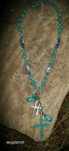 Cameron Cross Long Necklace - $20 Turquoise www.gypzranch.com