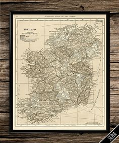 Vintage Map of Ireland, Ireland Map, Large Wall Art, Large Print, Travel Print,
