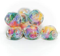 Lampwork BORO glass beads (7), borosilicate glass beads, handmade borosilicate lampwork glass beads, yellow, purple, green. borosilicate SRA by Juliyamrboro on Etsy