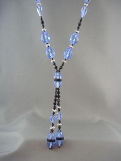 Antique Art Deco 1920's Blue & Black Flapper Lariat Glass Bead Necklace