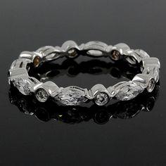 1.80 carat Marquise & Round Cut VVS1 Diamond Eternity Band Ring 165R #Affinityjewelry #EternityBand