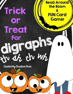 Trick-or-treat for Digraphs! Use this fun & spooky resource to practice reading digraphs, ch, sh, th, & wh words. Includes a Read Around the Room activity (or use as a literacy center) and a fun card game! *Read Around the Room:As a fun activity, tell students they are trick-or-treating for digraph words around the room.
