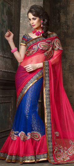 119961: READY-TO-SHIP Lehenga-saree in #colorblock trend #Bridalwear