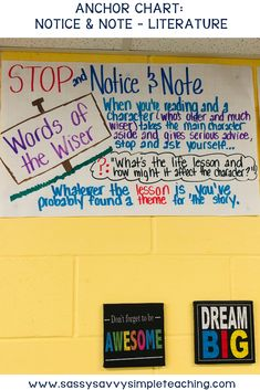 Notice and Note Anchor Chart for Literature texts. This anchor chart is a great visual tool when using the Notice and Note strategies to improve reading comprehension. Help your students comprehend literature texts. Balanced Literacy Classroom, Ela Classroom, Literacy Centers, Classroom Ideas, Improve Reading Comprehension, Reading Strategies, Reading Activities, Reading Resources, Reading Skills