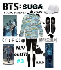 """""""BTS: SUGA """"Fire"""" M/V Outfit #3"""" by itzbrizo ❤ liked on Polyvore featuring Yves Saint Laurent and Zara"""